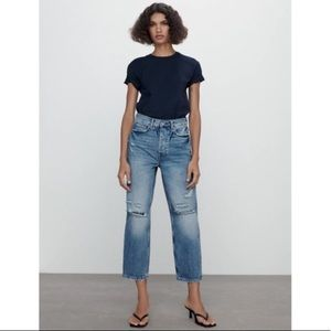 Zara signature ripped The bliss straight jeans NWT